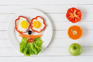Colorful breakfast for kids