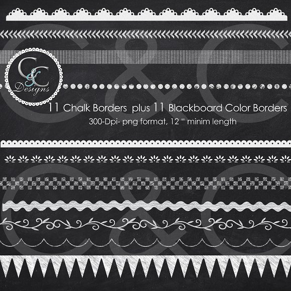 22 chalkboard borders clip art pack graphics creative market