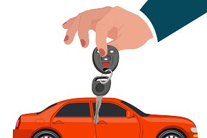 Hands with car key, vector
