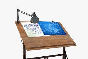 Blueprint Desk with Lamp