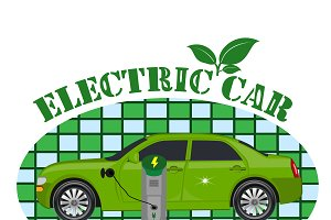 electric car emblem, vector