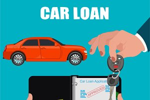 car loan contract, vector