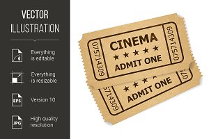 Two retro cinema tickets