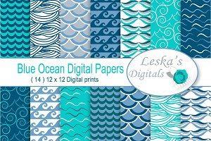 Ocean Blue Waves Digital Paper