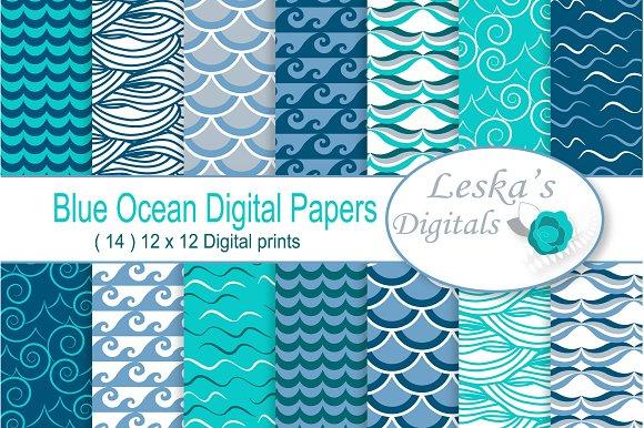 Ocean Blue Waves Digital Paper