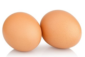 two chicken eggs