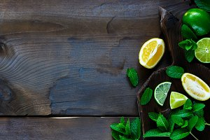Lime, lemons with mint