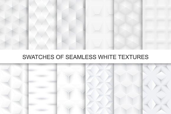 Swatches of seamless white textures.