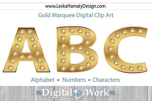 Gold Marquee Digital Clip Art