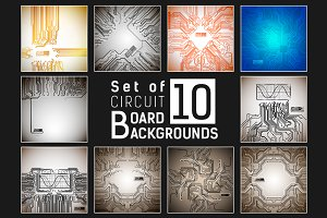 Set of 10 circuit boards backgrounds