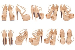 Set women's shoes, isolated