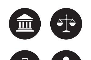 Law black icons set. Vector