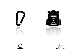 Hiking gear icons. Vector