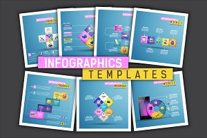 Set of 7 infographics templates