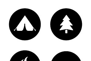 Outdoor picnic icons. Vector