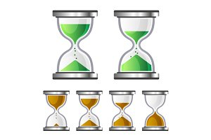 Sand Clock Glass Timer Icons Set
