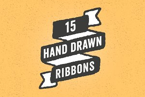 Hand Drawn Ribbons Set - 15 Pieces