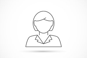 Businesswoman avatar thin line icon