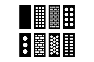 Different Type Bricks Icons Set