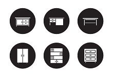 Furniture black icons set. Vector