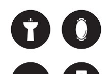Bathroom black icons set. Vector