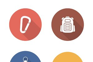 Hiking flat design icons set. Vector