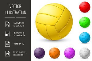 Multi-colored volleyball realiste