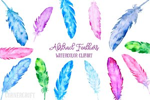 Watercolor Abstract Feather Clip Art