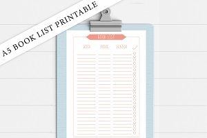A5 Coral Book List Printable