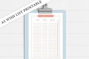 A5 Coral Wish List Printable