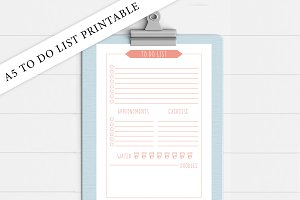 A5 Coral To Do List Printable