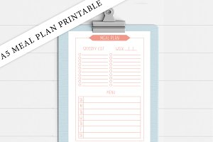 A5 Coral Meal Planner Printable