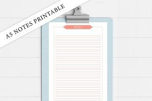 A5 Coral Notes Printable