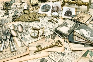 Antique goods, old photos
