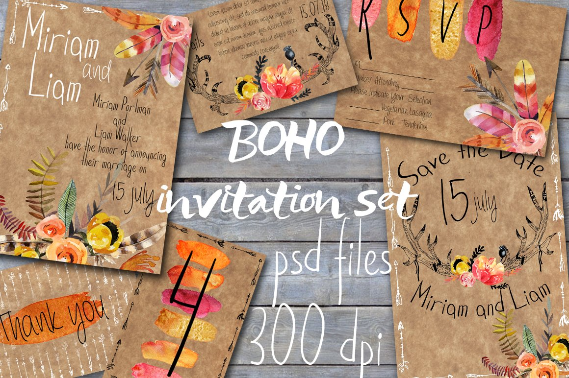 Boho Style Wedding Invitations Wedding Templates