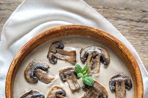 Bowl of creamy mushroom soup