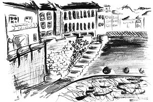 Monochrome canal landscape ink art