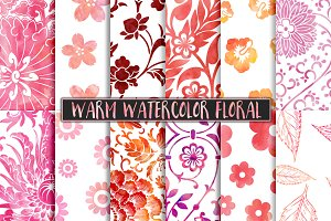 Warm Watercolor Floral Patterns