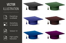 Set of of colorful hats graduate