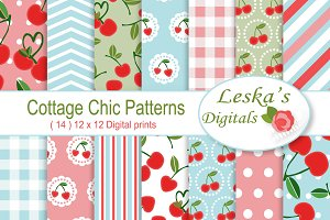 Cherry Digital Paper - Cottage Chic