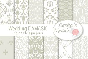 Wedding Damask Pattern Digital Paper