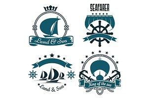 Sailing ships blue symbols