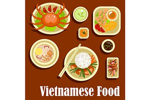 Dishes of vietnamese cuisine