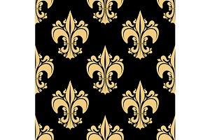 Seamless golden fleur-de-lis pattern
