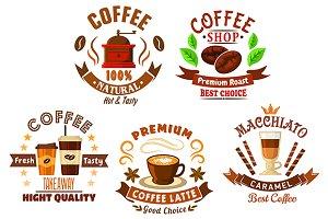 Coffee drinks emblems