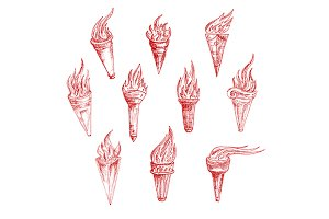 Flaming torches red sketches