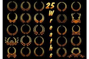 Heraldic golden laurel wreaths