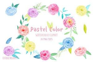 Watercolor Clip Art Pastel Color