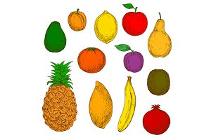 Flavorful sketched fruits