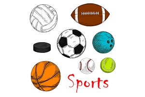 Colored sketches of sporting items